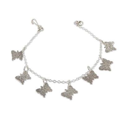 Handmade Silver Butterfy Charm Bracelet