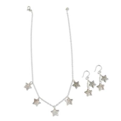Handmade Silver Star Necklace and Earrings Set from Peru