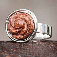 Goldstone flower ring, 'Golden Rose' - Goldstone Flower on Sterling Silver Ring