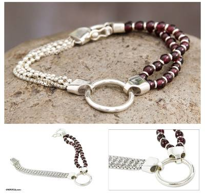 Garnet beaded bracelet, 'Scarlet Elegance' - Sterling Contemporary Garnet Bracelet