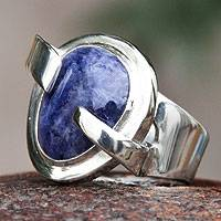 Sodalite cocktail ring, 'Blue Universe' - Handmade Sodalite Cocktail Ring