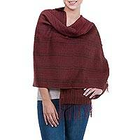 Alpaca and silk shawl, 'Piura Warmth' - Alpaca and Silk Blend Shawl Brown and Red
