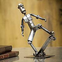 Recycled metal statuette, 'Skater Boy' - Recycled Metal Statuette from Peru