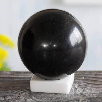 Onyx sphere, 'Night World' - Black Onyx Sphere Sculpture on White Calcite Base