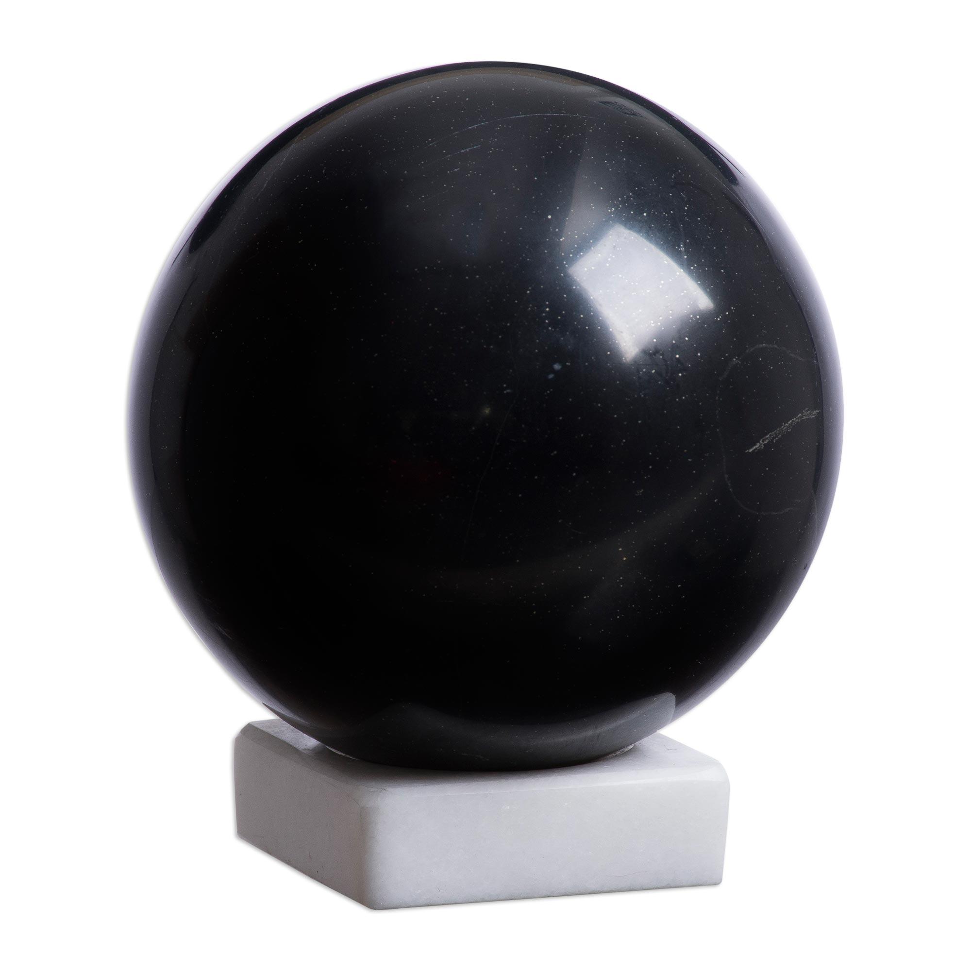 UNICEF Market   Peruvian Onyx Sphere Sculpture - Black Hole
