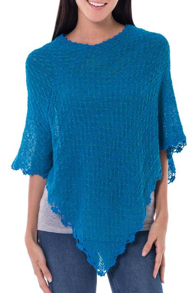 Blue Green Alpaca Blend Poncho from Peru