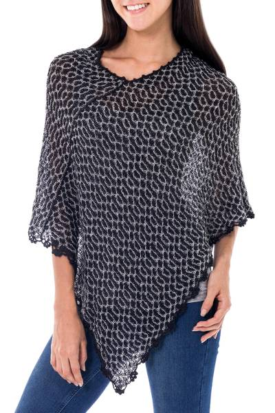 Black White Alpaca Blend Poncho from Peru