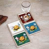 Painted glass coasters, 'Andean Roses' (set of 4) - Handmade Floral Reverse Painted Glass Coasters (Set of 4)