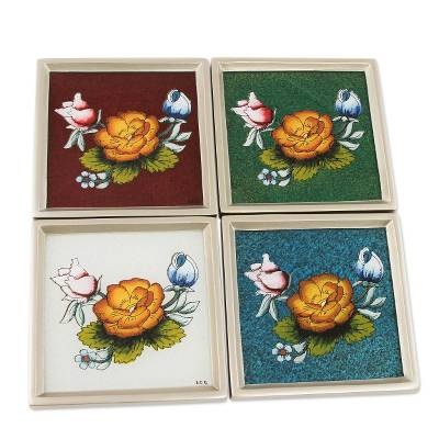 Handmade Floral Reverse Painted Glass Coasters (Set of 4)