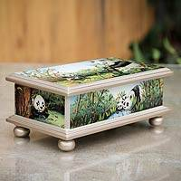 Reverse painted glass box, 'Happy Panda Family' - Reverse Painted Glass Jewelry Box from Peru