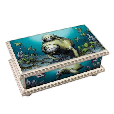 Reverse painted glass box, 'Manatees' - Reverse Painted Glass Jewelry Box with Silver Trim