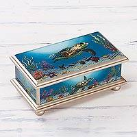 Reverse painted glass box, 'Sea Turtle' - Reverse Painted Glass Jewelry Box