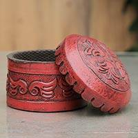 Leather box, 'Andean Secrets' - Round Tooled Leather Box and Lid