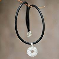 Leather pendant necklace, 'Vibrant Cycle' - Sterling Silver and Leather Necklace from Peru