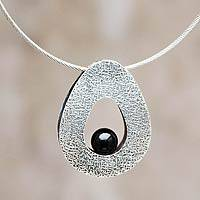Obsidian pendant necklace, 'Euphoria' - Obsidian on Sterling Silver Jewelry Steel Necklace