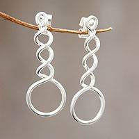 Sterling silver drop earrings, 'Endless Joy' - Peru Fair Trade Modern Silver Earrings