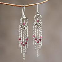 Garnet waterfall earrings,