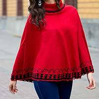 Alpaca blend poncho, 'Red Wari Splendor' - Red Alpaca Blend Turtleneck Poncho with Knit Trim