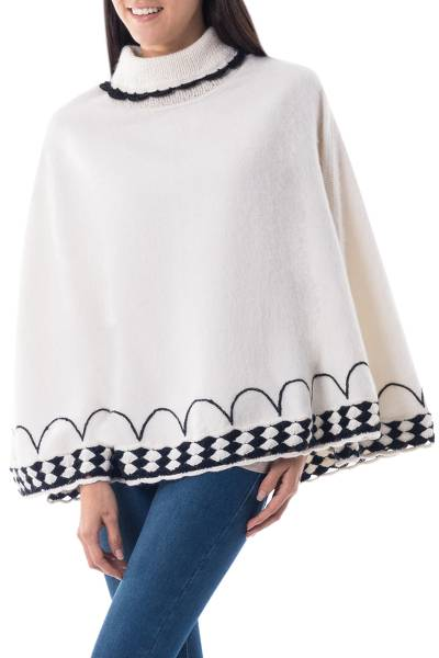 Ivory Alpaca Blend Turtleneck Poncho with Black Trim