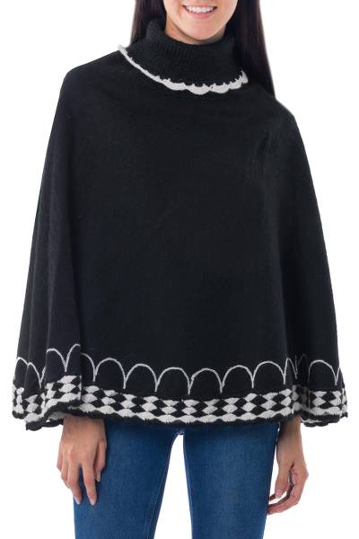 Black Alpaca Blend Turtleneck Poncho Gray and White Trim