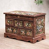 Wood and leather jewelry box, 'Taking Flight' - Hand Crafted Tooled Leather Multi-Drawer Jewelery Box