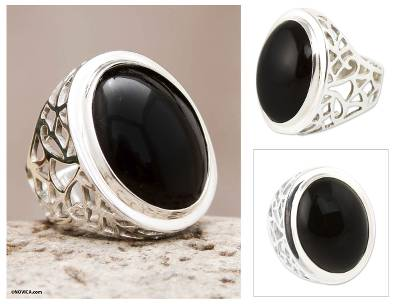 Obsidian Ring Sterling Silver Artisan Jewelry