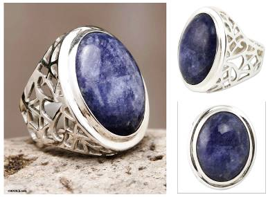 Sodalite Ring Sterling Silver Artisan Jewelry