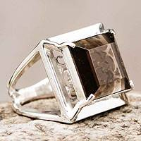 Smoky quartz cocktail ring, 'Charm of Lima' - Artisan Crafted Smoky Quartz Ring Peru Jewelry