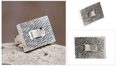 male rings silver anniversary - Square Textured Silver Handmade Ring