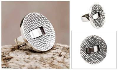 silver jewellery shop - Textured Silver Handmade Ring