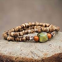 Serpentine and jasper stretch bracelets, 'My Homeland' (pair) - Artisan Crafted Ceramic Bead Bracelets with Gemstones (Pair)