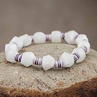 Alabaster and ceramic stretch bracelet,