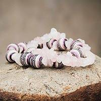 Ceramic and quartz stretch bracelets,