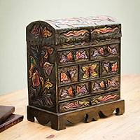 Wood and leather jewelry box, 'Exotic Birds' - Bird Motif Green Leather jewellery Box Chest 8 Drawers