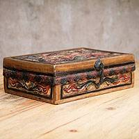 Mohena and leather jewelry box, 'Memories' - Handcrafted Tooled Leather Peruvian Jewelry Box
