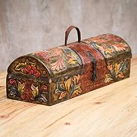 Mohena and leather box, 'Colonial Traditions' - Handcrafted Peruvian Tooled Leather and Wood Box