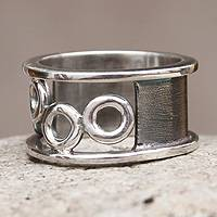 Sterling silver band ring, 'Evening Dew' - Sterling Silver Band Ring from Peru Jewelry