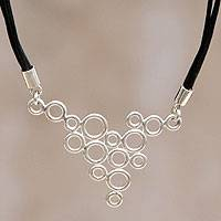 Leather pendant necklace, 'Sweet Dew' - Leather and Sterling Silver Necklace from Peru Jewelry
