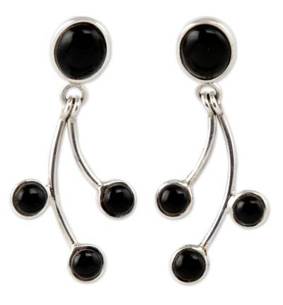 Obsidian Earrings Artisan Crafted Sterling Silver Jewelry
