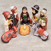 Ceramic nativity scene, 'Kings of the Andes' (8 pieces) - Ceramic Handcrafted Peruvian Christmas Nativity Scene Set