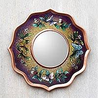Reverse painted glass mirror, 'Purple Butterfly Sky' - Purple Reverse Painted Glass Wall Mirror