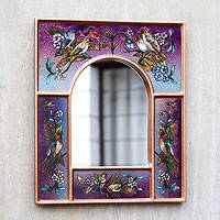 Reverse painted glass mirror, 'Songbirds on Amethyst' - Purple Reverse Painted Glass Wall Mirror with Birds