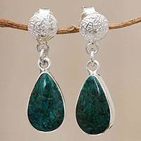 Chrysocolla dangle earrings, 'Song' - Fair Trade Andean Silver and Chrysocolla Earrings
