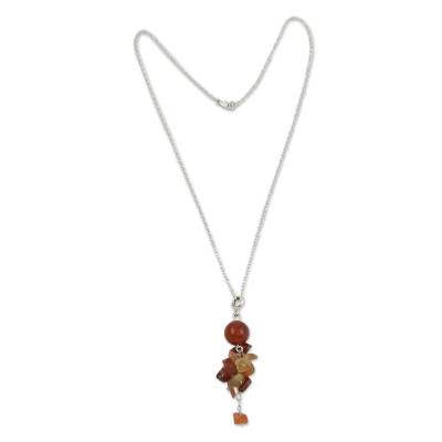 Agate pendant necklace, 'Caramel Protection' - Red Agate Pendant on Sterling Silver Necklace Jewelry