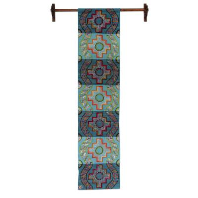 Wool tapestry, 'Path to the Stars' - Blue Wool Tapestry with Pre-Hispanic Motifs
