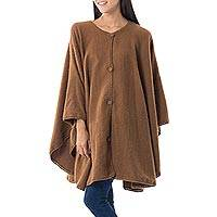 Alpaca blend ruana cape, 'Earth Chic' - Brown Alpaca Blend Ruana Cape