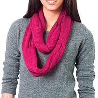 100% alpaca infinity scarf, 'Endless Fuchsia' - Alpaca Knit Infinity Scarf from Peru