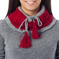 100% alpaca neck warmer, 'Flirting in Red' - Alpaca Knit Neck Warmer from Peru