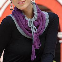 100% alpaca neck warmer, 'Flirting in Purple' - Alpaca Knit Neck Warmer from Peru