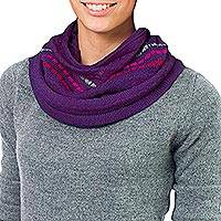 100% alpaca neck warmer, 'Purple Andes Muse' - Alpaca Knit Neck Warmer from Peru